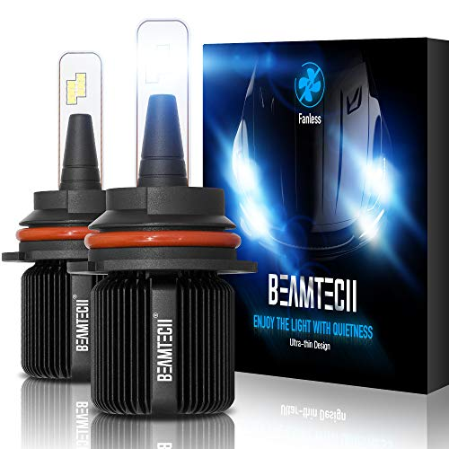BEAMTECH 9007 LED Bulb,Fanless CSP Y19 Chips 8000 Lumens 6500K Xenon White HB5 Hi/Lo Extremely Bright Conversion Kit Ultra Thin All In One Low Fog Light
