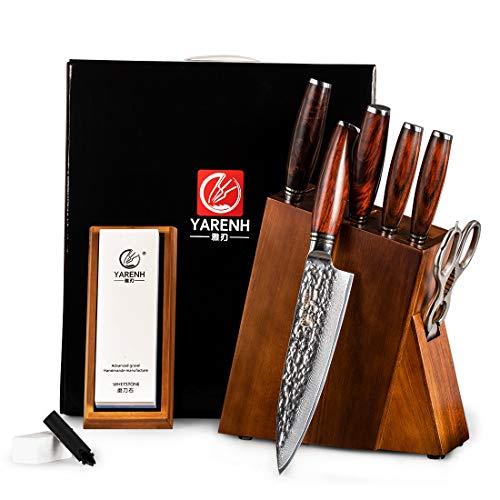 YARENH Set Coltelli con Ceppo Colossal 8 Pezzi - Coltelli Cucina Set in Acciaio Damasco Giapponese - Professionali Coltello da Cucina - Forbici da Cucina Multifunzione - Blocco in Legno di Acacia