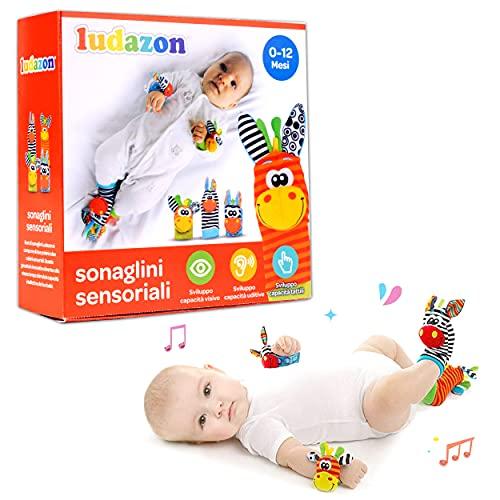 LUDAZON Sonaglini Sensoriali per lo sviluppo delle capacit intellettive, Giochi Neonato Montessori, Sonaglio in Morbido Peluche, Ideale per Regali Nascita Maschio o Femmina