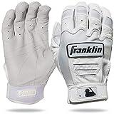 Franklin Sports Batting Gloves - CFX Pro Chrome Adult + Youth Batting Gloves Pair - Baseball + Softball Batting Gloves - White - Adult Large, Chrome White