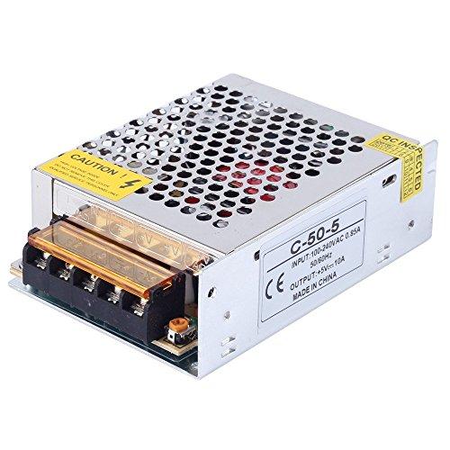CHINLY AC 110/220V a DC5V 10A 50W Controlador LED Transformador de fuente de alimentación conmutada para WS2811 2801 WS2812B WS2813 APA102 LED Strip Pixel Light
