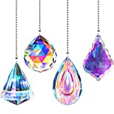 4 Pieces Crystal Ceiling Fan Pull Chain Rainbow Maker Pull Chain Extension with Connector for Bathroom Toilet Light Ceiling Light Fan (Longan, Round, Polygon, Quadrilateral)