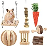 Fulfun Lot de 7 jouets à mâcher pour hamster en bois naturel,...