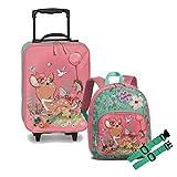 Juego de 3 maletas para niños (trolley + mochila + correa para el pecho, 3-8 años), diseño de dinosaurios