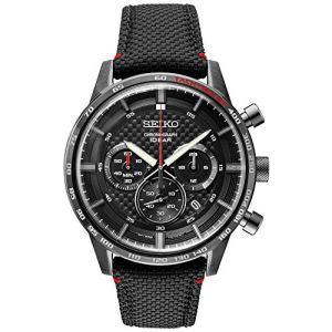 Seiko Men's Stainless Steel Japanese Quartz Leather Calfskin Strap, Black, Casual Watch (Model: SSB359) 45