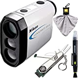 Nikon Coolshot 20 GII Golf Laser Rangefinder (16667) with Deco Essentials Stainless Steel 7-in-1 Multi-Function Golf Tool Microfiber Cleaning Cloth & More Bundle