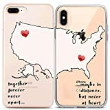 Lex Altern Couple Case for iPhone 11 Pro Xs Max 10 X Xr 8 Plus 7 6s SE 5s Lightweight Relationship Boyfriend Quote Distance Print BFFs Together Forever Silicone Cute TPU Map Love Cover Matching