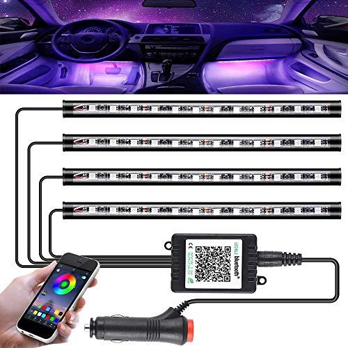GOLDGE Striscia LED Auto con Controllo APP, Striscia Luci Interne con 48 LED RGB per Auto, 8 Colori 4 Modalit Musica Kit di Illuminazione, DC 12V [Classe di Efficienza Energetica A++]