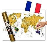 Global Walkabout française – Carte à gratter avec des Drapeaux en arrière-Plan – Affiche de...