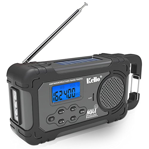 Kello Solar Crank NOAA Weather Radio for Emergency with AM/FM/SW/All Hazard Public Alert, Flashlight, Alarm Clock, Power Bank Function