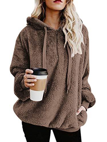 Century Star Womens Fuzzy Hoodies Pullover Cozy Oversized Pockets Hooded Sweatshirt Athletic Fleece Hoodies Brown Large