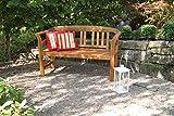 acamp Hochwertige Gartenbank Batam 2-Sitzer aus Akazienholz mit Teaköl Finish geschnitztes Rosenmuster - 3
