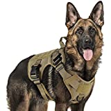 "rabbitgoo Tactical Dog Harness Vest Large with Handle, Military Dog Harness Working Dog Vest with MOLLE & Loop Panels, No-Pull Adjustable Training Vest, Tan, Large Size, Chest (31.5-41.3"")"
