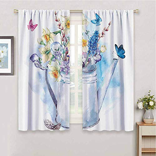 Curtain Daffodil Decor Summer Bouquet with Violets Puss-Willows and Butterflies in Old-Fashion Watering Can Paint for Home Decoration W55 x L72
