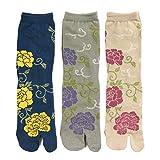 Wrapables Tabi Flip-Flop Socks (Set of 3), Rose & Peony, Dark Blue, Gray, Beige