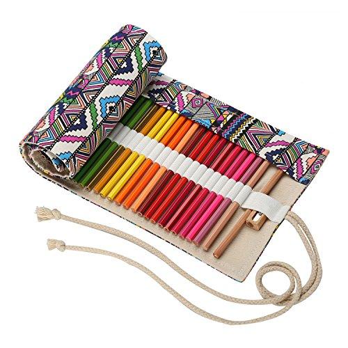 Sacchetto della Matita Vintage Tela Wrap Borsa Porta Matite Colorata Roll-up Titolare della Cassa...