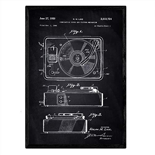 Nacnic Stampa Artistica Vintage su Sfondo Nero Brevetto grammofono. Progetto grammofono Musicale. Musica, Suoni e Dischi in Vinile. Vecchi brevetti. Vecchie invenzioni sonorit.