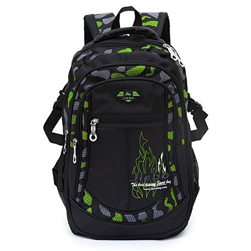 Jungen Schulrucksack Teenager Rucksack Jugendlichen Schultasche Outdoor Freizeitrucksack Schwarz und Grün