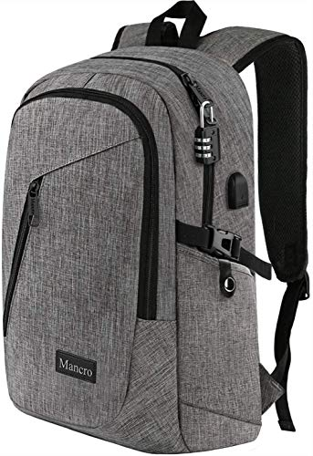 Laptop Backpack, Business Travel Water Resistant Backpacks Gift for Men Women, Anti Theft College School Bookbag, Mancro Computer Bag with USB Charging Port Lock Fits 15.6' Laptop and Notebook (Grey)