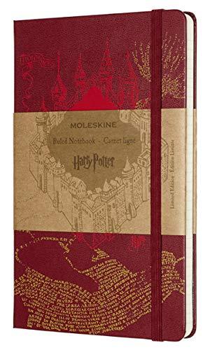 Moleskine Harry Potter de Edición Limitada, Cuaderno de Rayas con Gráficos y Detalles Temáticos del Mapa del Merodeador, Tapa Dura, Tamaño Grande 13 x 21 cm, Rojo, 240 Páginas