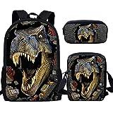 Nopersonality - Juego de mochila escolar para niños y niñas y adolescentes, 3 unidades, dinosaurio (Marrón) - M-Z1909ECK+
