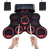 Batterie Électronique Drum Set, ammoon portable électronique Roll Up Tambour, Kit de pratique sensible au toucher enroulable numérique Parfait pour les Débutants et les Enfants, Cadeau de Noël