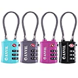 TSA Approved 3 Digit Luggage Cable Locks, Small Combination Padlock Ideal for Travel – Added Security for Suitcases and Backpacks- 1, 2 & 4 Pack (ALL COLOUR) …