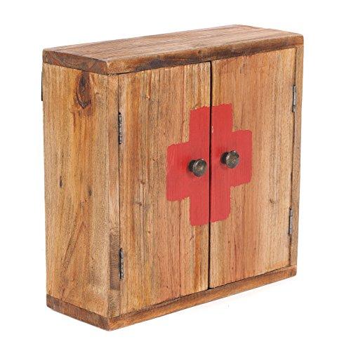 Armadio medico vintage | 35x35x35x13cm (HxLxP), legno riciclato | pensile, mensola a muro,...