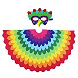 D.Q.Z Kids Bird Wings for Girl Boy Parrot Costume and Dress-Up Mask (Rainbow)