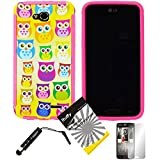 3 items Combo: ITUFFY (TM) LCD Screen Protector Film + Mini Stylus Pen + Cartoon Owls Design Wrap-Up Cover Faceplate Skin Phone Case for LG Optimus L90 / LG D415 (T-Mobile) (Cartoon Owls - Pink)