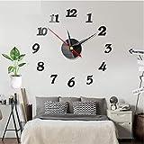 Huai1988 Reloj de pared, adhesivo de pared moderno 3D, acrílico, espejo de metal, sin marco,...