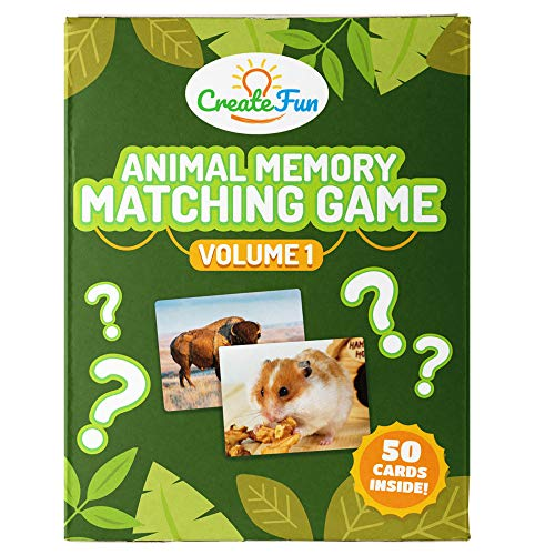 CreateFun Animal Memory Matching Card Game | for Toddlers, Preschool, Kindergarten and Families | Fu...