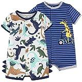 Nouveau née Été Barboteuses 2 Pièces - Bébé Garçons Jumpsuit en Coton Combinaison Manche Courte Enfants Grenouillères Animaux Pyjama 18-24 Mois