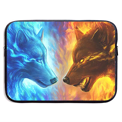Ice Vs Fire Wolf Laptop Sleeve Case Bag Cover for Apple MacBook/Asus/Acer/Samsung/DELL/HP/Lenovo/Sony/RCA Computer 15 Inch