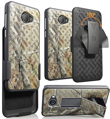 Jitterbug Smart2 Case with Clip, Nakedcellphone [Outdoor Camo] Tree Leaf Real Woods Cover with Kickstand [Rotating/Ratchet] Belt Hip Holster for GreatCall Jitterbug Smart2 Phone (5049SJBS2, Smart-2)