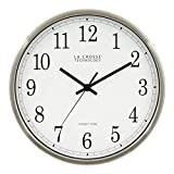 Wt-3126b 12 in. Stainless Steel Atomic Wall Clock Silver Modern Contemporary Round Plastic Minute Hand Numerical Display