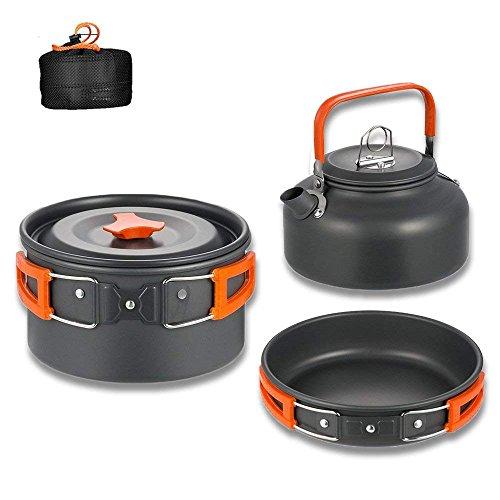 Aitsite Kit di stoviglie da Campeggio Alluminio Leggero da Campeggio in vaschetta Set di Cottura per l'escursionismo in Campeggio (Arancia)