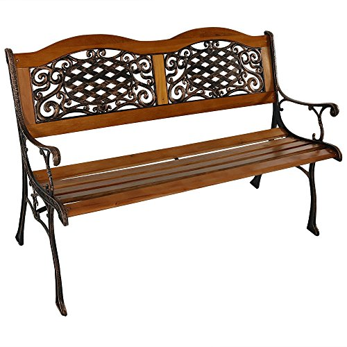 Sunnydaze 2-Person Garden Bench - Cast Iron and Wood Frame with Ivy...