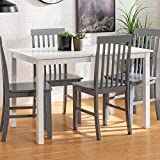 Walker Edison 4 Person Modern Farmhouse Wood Small Dining TableDining Room Kitchen Table Set Dining 4 Chairs Set White/Grey48 Inch (AZW485PCWG)