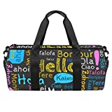 PLOKIJ Bolsa de gimnasio pequeña de 45,72 cm para hombres y mujeres, bolsa de viaje con bolsillo mojado, Hola diferentes idiomas