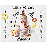 """Little Wizard Baby Monthly Milestone Blanket Magic Witches Photo Prop Blanket Ideas for Newborn Boy and Girl Nursery Décor 40"""" X 50"""""""