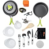 MalloMe Camping Cookware Mess Kit Backpacking Gear & Hiking Outdoors Bug Out Bag Cooking Equipment Cookset | Lightweight, Compact, Durable Pot Pan Bowls (Green 1L 18 pc)