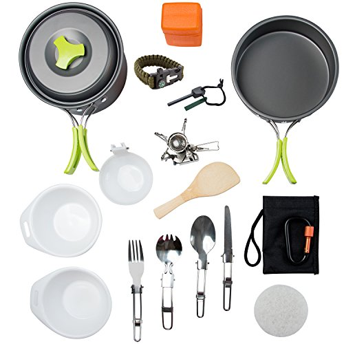 MalloMe Camping Cookware Mess Kit Backpacking Gear & Hiking...