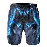 Vikimen Short de Bain Homme Maillot de Bain Silver Wolf Men's Casual Beach Board Shorts Quick-Drying Swim Pants