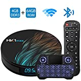 Android TV Box 9.0 4GB 64GB Smart TV Box Streaming Media Player RK3318 USB 3.0 Ultra HD 4K HDR Dual Band WiFi 2.4GHz 5.8GHz Bluetooth 4.1 Set Top Box with Mini Wireless Backlit Keyboard HK1 MAX 4G 64G