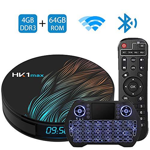 Android TV Box 9.0 4GB 64GBSmart TV Box Streaming Media Player RK3318 USB 3.0 Ultra HD 4K HDR Dual Band WiFi 2.4GHz 5.8GHz Bluetooth 4.1 Set Top Box with Mini Wireless Backlit Keyboard HK1 MAX 4G 64G