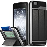 iPhone 6S Plus Wallet Case, Vena vCommute Drop Protection Flip Leather Cover Card Slot Holder with KickStand for Apple iPhone 6 Plus 6S Plus (Space Gray, Black)
