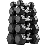 AMGYM Hex 150lbs Dumbbell Set Rubber Encased, Dumbbell Weight Set Sold in A Pair of 5 10 15 20 25 lbs