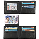 Wallet for Men-Genuine Leather RFID Blocking Bifold Stylish Wallet With 2 ID Window (Black-Smooth Leather)