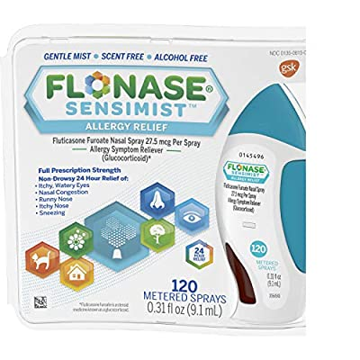 One 120-spray bottle of Flonase Sensimist Allergy Relief Nasal Spray Non Drowsy Allergy Medication, gentle mist that relieves even the worst seasonal, year-round, indoor and outdoor allergies Unlike most allergy pills, Flonase Sensimist is a multi-sy...